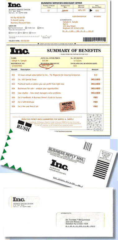 Acquisition mailing for Inc Magazine