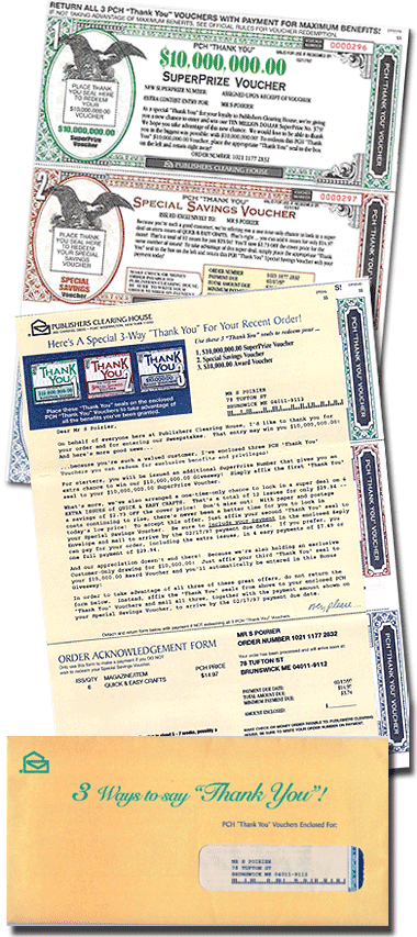 Renewal mailing for Publisher's Clearing House